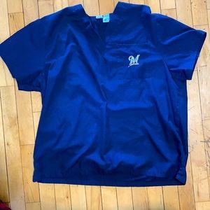 Milwaukee Brewers scrub top